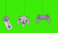 Cartoon Video Game Consoles Joystick Swinging on a Green Screen Background Stock Footage
