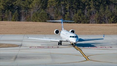 United Express CL-600 Jet Airliner at RDU Airport Stock Footage