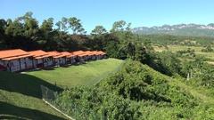 Bungalows of the Los Jazmines hotel. Vinales, Pinar del Rio, Cuba Stock Footage