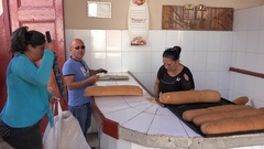 Buyers in a Bakery store in Cuba. Trinidad Stock Footage