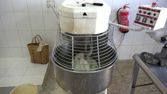 Operation of the dough mixer machine in the bakery. Trinidad, Cuba Stock Footage