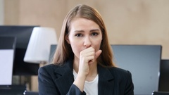 Sick Woman in Office Coughing, Cough Stock Footage