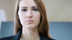 Close Up of Serious Woman Face in Office Stock Footage