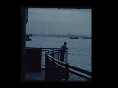 Young boy on Staten Island Ferry 1961 Stock Footage