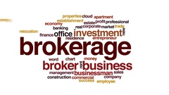 Brokerage animated word cloud, text design animation. Stock Footage