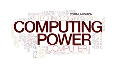 Computing power animated word cloud, text animation. Kinetic typography. Stock Footage