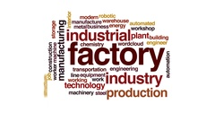 Factory animated word cloud, text design animation. Stock Footage