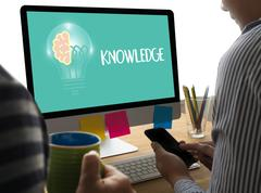 Distance learning online webpage KNOWLEDGE work Stock Photos
