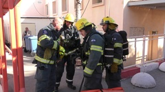 Firefighters get ready to go to the action a drill in Haemek Hospital. Afula, Is Stock Footage