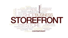 Storefront animated word cloud, text design animation. Kinetic typography. Stock Footage