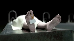 Cadaver, dead male body in morgue on steel table. Corpse. Autopsy concept Stock Footage
