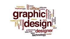 Graphic design animated word cloud, text design animation. Stock Footage