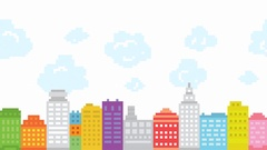 Pixel art style city with animated clouds. Retro game buildings location. HD Stock Footage