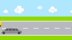 Pixel art arcade game traffic road. HD flat cars animation Stock Footage