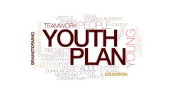 Youth plan animated word cloud, text design animation. Kinetic typography. Stock Footage