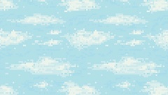 Retro video game pixel art blue sky background. Pixelated clouds HD animation Stock Footage