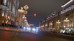 MOSCOW, RUSSIA December 30, 2016: Timelapse. Rapid movement of cars on city Stock Footage