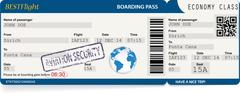 Blue vector template of boarding pass tickets Stock Illustration