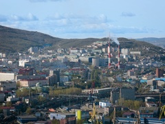 View From Above of Murmansk. Sity Building, Heating Plant, the Loading Station, Stock Footage