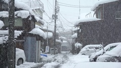 Heavy Snow Blankets Town During Major Winter Storm Stock Footage