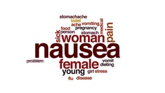 Nausea animated word cloud, text design animation. Stock Footage