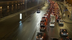 Timelapse. The movement of vehicles on the river waterfront. In evening time Stock Footage