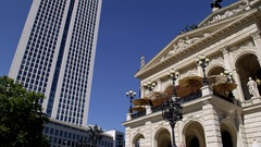 Frankfurt Old Opera House - Alte Oper- and UBS Tower Stock Footage