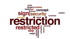 Restriction animated word cloud, text design animation. Stock Footage