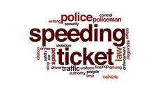 Speeding ticket animated word cloud, text design animation. Stock Footage
