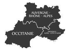 Auvergne - Occitanie - Provence - Alpes - Cote d Azur Map France Stock Illustration