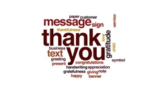 Thank you animated word cloud, text design animation. Stock Footage