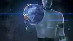Robot, cyborg touching earth, communication technology, network world map wi-fi Stock Footage