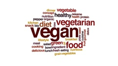 Vegan animated word cloud, text design animation. Stock Footage