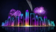 Businesswoman touching Construction building city. night fireworks festival. Stock Footage