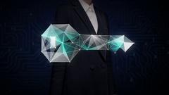 Businessman touching Digital lines create key shape, digital security solution. Stock Footage