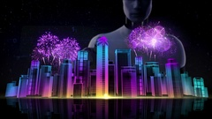 Robot, touching Construction building city. nighttime fireworks festival. neon. Stock Footage