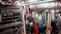 Engine Room of tug AHTS Stock Footage
