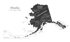 Modern Map - Alaska county map with labels USA illustration Piirros