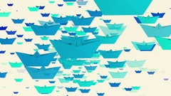 Rotating paper boats in blue colors on white Stock Footage