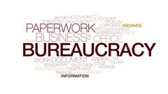 Bureaucracy animated word cloud, text design animation. Kinetic typography. Stock Footage