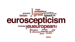 Euroscepticism animated word cloud, text design animation. Stock Footage