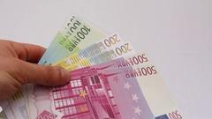 Throwing Euro bills Stock Footage