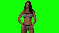 Morning sexy gymnastics girls in underwear. Green screen studio Stock Footage