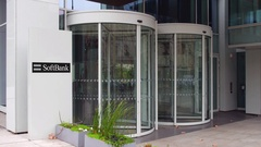 Street signage board with SoftBank logo. Modern office building. Editorial 4K 3D Stock Footage