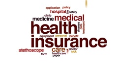 Health insurance animated word cloud, text design animation. Stock Footage