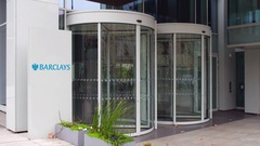 Street signage board with Barclays logo. Modern office building. Editorial 4K 3D Stock Footage
