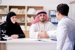 Doctor consulting arab family at hospital Kuvituskuvat