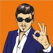 Retro businessman OK gesture pop art comic vector Stock Illustration