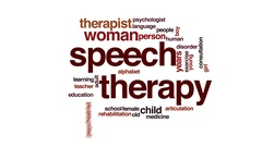 Speech therapy animated word cloud, text design animation. Stock Footage