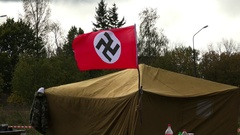 German field camp. The Second World War. Military historical reconstruction.4K. Stock Footage